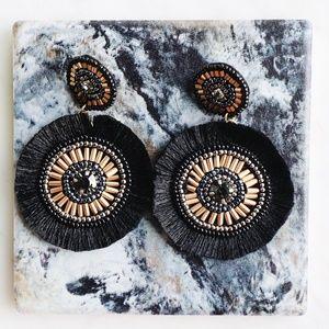 Black Beaded Tassel Earrings